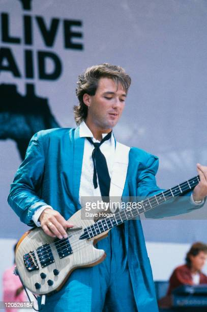 Bassist Martin Kemp performing with English pop group Spandau Ballet at the Live Aid concert at Wembley Stadium, London, 13th July 1985.