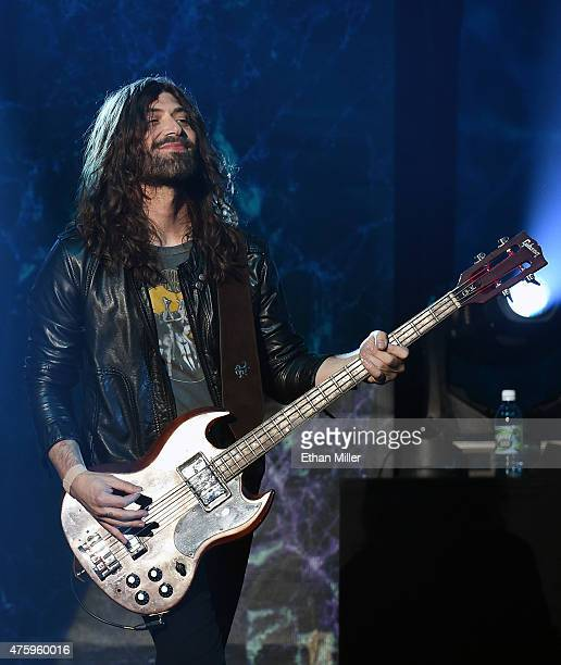 Bassist Michael Devin of Whitesnake performs at The Joint inside the Hard Rock Hotel Casino as the band tours in support of 'The Purple Album' on...