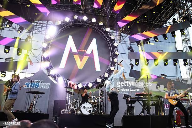 Bassist Mickey Madden drummer Matt flynn singer Adam Levine and James Valentine of Maroon 5 perform at 1027 KIIS FM's Wango Tango at StubHub Center...