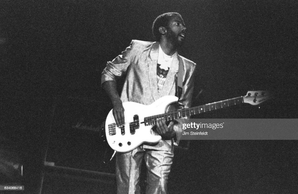 Bassist Nathan East performs on the Eric Clapton tour at the St. Paul Civic Center in St. Paul, Minnesota on April 18, 1987.