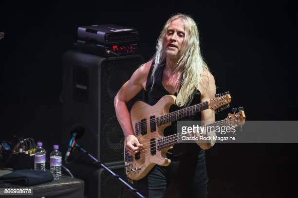 Bassist Nick Beggs performing live on stage with Steve Hackett at City Hall in Sheffield on May 3 2017