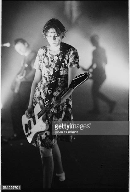 Bassist Nicky Wire performing in a dress, with Welsh alternative rock group the Manic Street Preachers, at one of their two concerts at MBK Hall,...