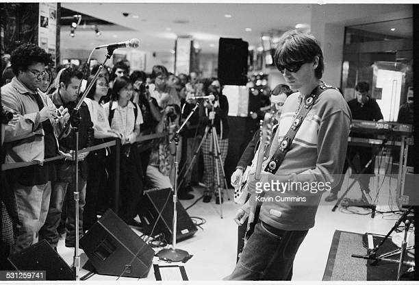 Bassist Nicky Wire performing with Welsh alternative rock group the Manic Street Preachers Los Angeles California September 1996