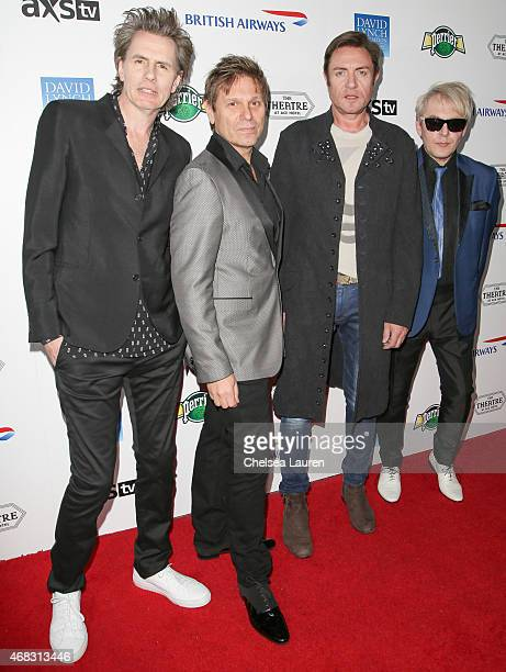 Bassist Nigel John Taylor guitarist Roger Andrew Taylor vocalist Simon Le Bon and keyboardist Nick Rhodes of Duran Duran arrive at the 10th...