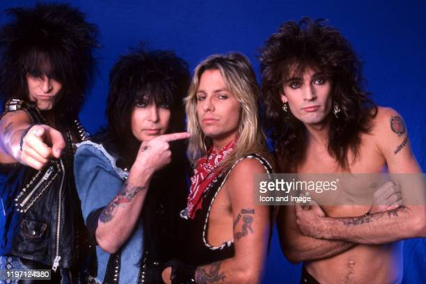 Bassist Nikki Sixx lead guitarist Mick Mars lead singer Vince Neil and drummer Tommy Lee of the American hard rock band Motley Crue pose for a...