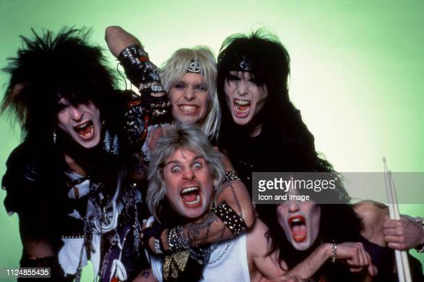 Bassist Nikki Sixx lead singer Vince Neil lead guitarist Mick Mars and drummer Tommy Lee of the American hard rock band Motley Crue pose for a studio...