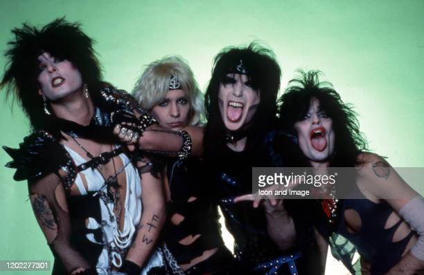 Bassist Nikki Sixx, lead singer Vince Neil, lead guitarist Mick Mars and drummer Tommy Lee of the American hard rock band Motley Crue pose for a...