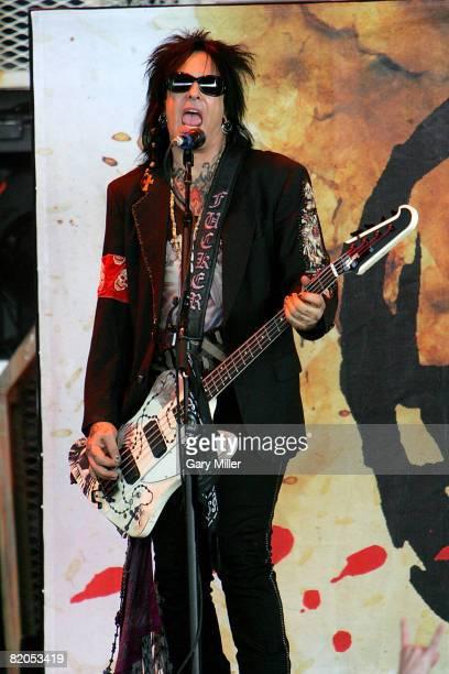 Bassist Nikki Sixx of Sixx AM performs during CrueFest at the Verizon Wireless Amphitheater on July 23 2008 in San Antonio Texas