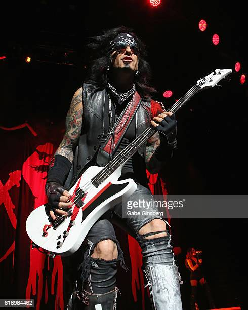 Bassist Nikki Sixx of SixxAM performs at TMobile Arena on October 28 2016 in Las Vegas Nevada