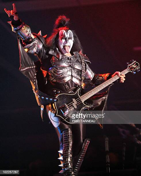 Bassist of US rock band Kiss Gene Simmons performs on stage during the Hellfest Heavy Music Festival on June 20 2010 in Clisson western of France AFP...