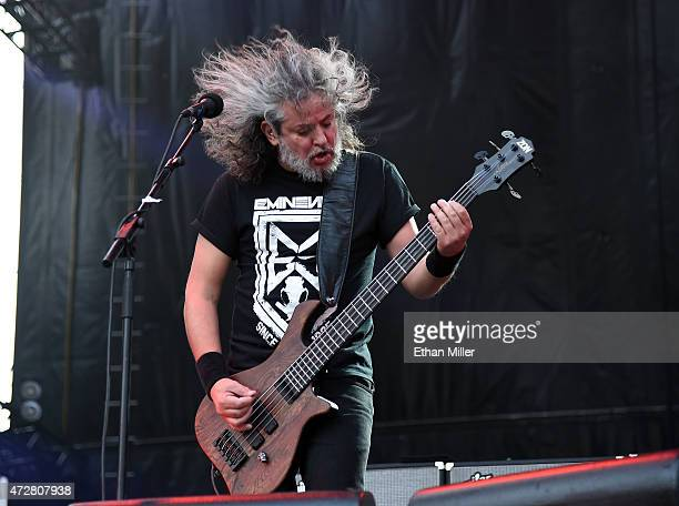 Bassist Paulo Xisto Pinto Jr of Sepultura performs onstage during Rock in Rio USA at the MGM Resorts Festival Grounds on May 9 2015 in Las Vegas...