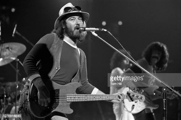 Bassist Pete Agnew singerfrontman Dan McCafferty and guitarist Manny Charlton of Scottish hardrock band Nazareth perform at the Omni Coliseum on...