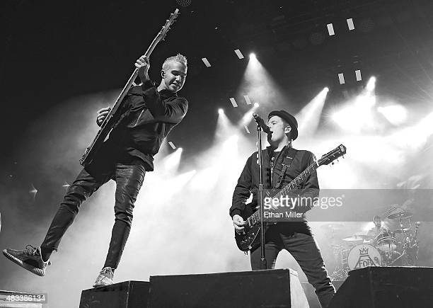 Bassist Pete Wentz and frontman Patrick Stump of Fall Out Boy perform at the Mandalay Bay Events Center during a stop of the Boys of Zummer tour on...