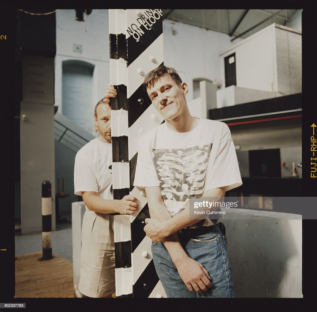 Bassist Peter Hook (left) and drummer Stephen Morris of British band New Order at the Hacienda club in Manchester, 25th July 1990.
