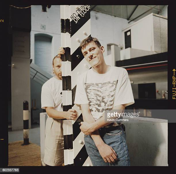 Bassist Peter Hook and drummer Stephen Morris of British band New Order at the Hacienda club in Manchester 25th July 1990