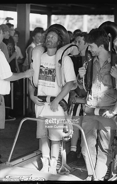 Bassist Peter Hook of English rock group New Order at the Canada's Wonderland theme park in Vaughan Ontario 31st July 1993