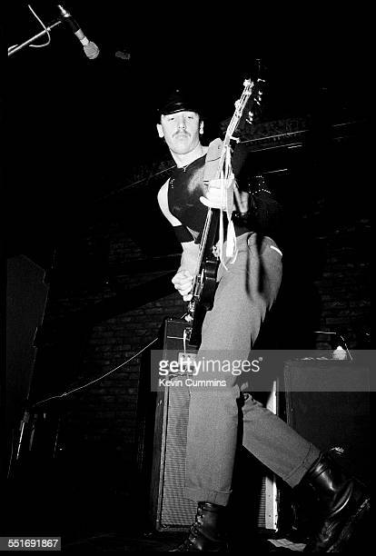 Bassist Peter Hook performing with English punk band Warsaw at Rafters nightclub in Oxford Street Manchester 30th June 1977 The band changed their...