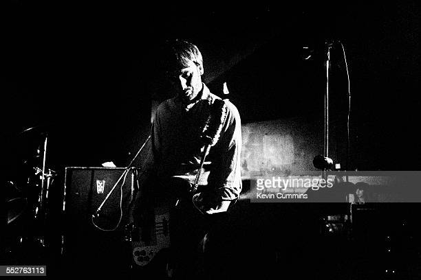 Bassist Peter Hook performing with English rock group Joy Division at the Russell Club also known as The Factory Manchester 1979