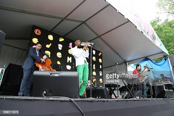 Bassist Phil Kuehn musician Jonathan Batiste drummer Joe Saylor saxophone player Eddie Barbash and tuba player Ibanda Ruhumbika of Jonathan Batiste...