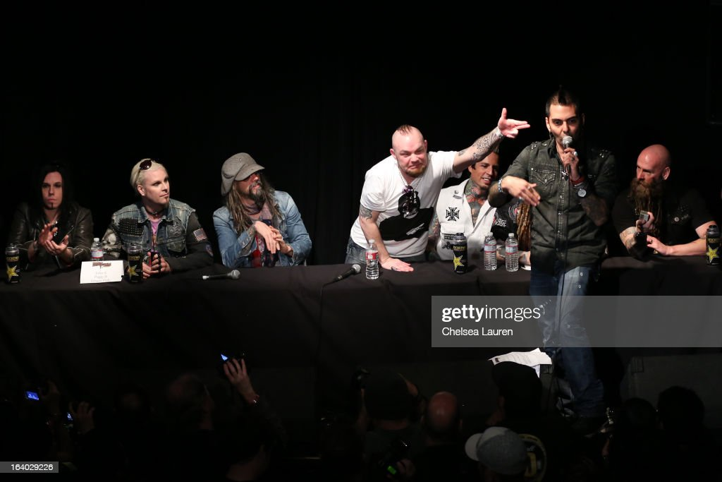 Bassist Piggy D., guitarist John 5, vocalist Rob Zombie, vocalist Ivan Moody, drummer Jeremy Spencer, radio personality Jose Mangin and bassist Chris Kael attend the 6th annual Rockstar energy drink Mayhem festival press conference at The Whiskey A Go Go on March 18, 2013 in West Hollywood, California.