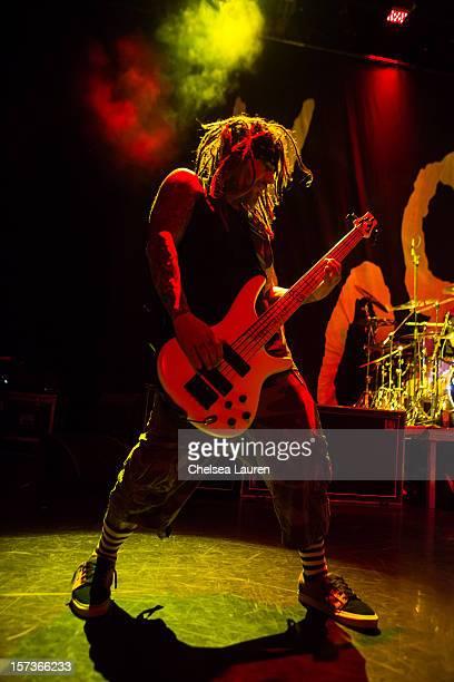 Bassist Reginald Arvizu of Korn performs onboard Shiprocked cruise on November 28 2012 in Fort Lauderdale Florida