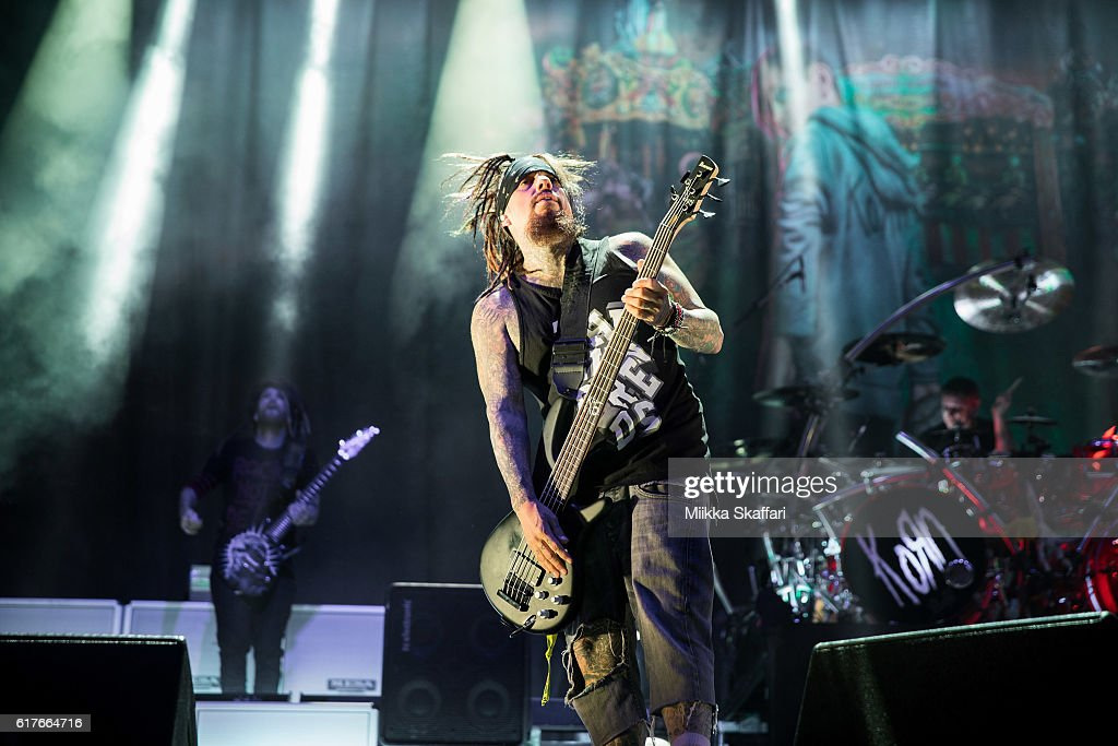 Bassist Reginald 'Fieldy' Arvizu of Korn performs at Aftershock Festival at Discovery Park on October 23, 2016 in Sacramento, California.