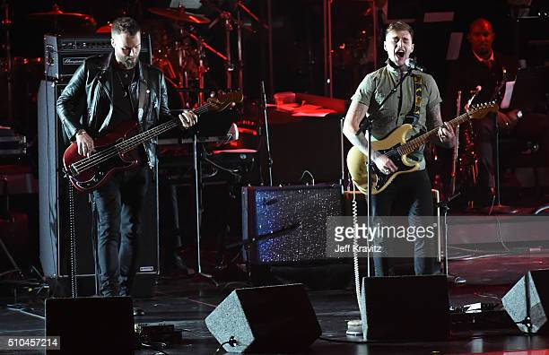 Bassist Rich Meyer and guitarist Johnny Stevens of Highly Suspect perform onstage during The 58th GRAMMY Premiere Ceremony at Los Angeles Convention...