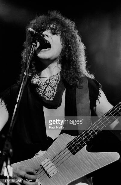 Bassist Rick Savage of Def Leppard at the UIC Pavilion in Chicago, Illinois, April 1, 1983.