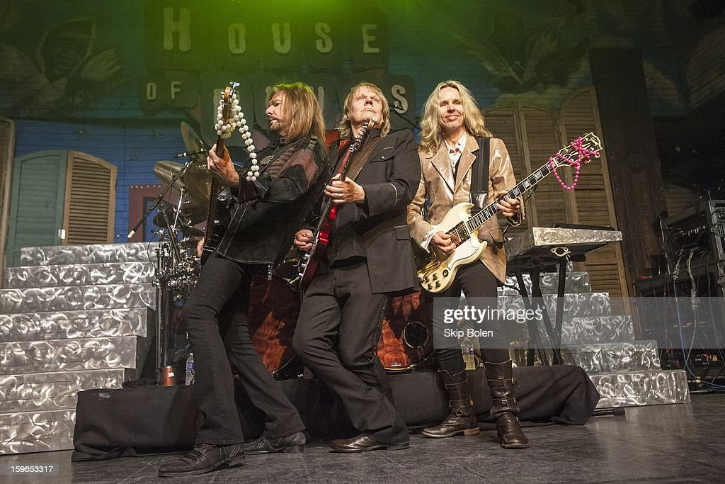 Bassist Ricky Phillips with guitarists James Young and Tommy Shaw of Styx performs at the House of Blues on January 17, 2013 in New Orleans, Louisiana.