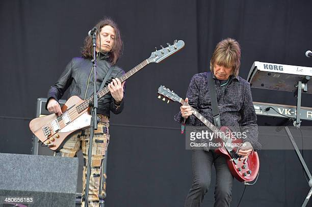 Bassist Rob De Luca and guitarist Paul Raymond of English hard rock group UFO performing live on the Main Stage at Download Festival on June 15 2013