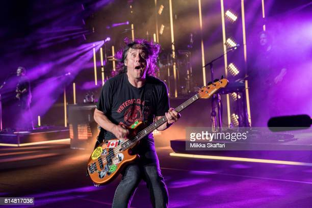 Bassist Robby Takac of Goo Goo Dolls performs at Shoreline Amphitheatre on July 14 2017 in Mountain View California