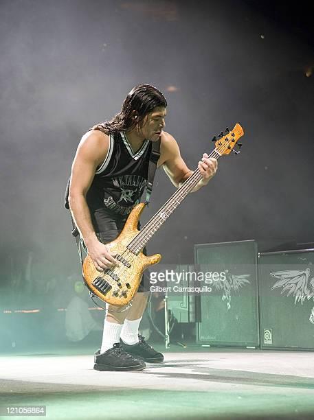 Bassist Robert Trujillo of Metallica performs at the Wachovia Center on January 17 2009 in Philadelphia