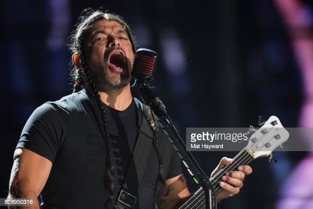 Bassist Robert Trujillo of Metallica performs on stage at CenturyLink Field on August 9 2017 in Seattle Washington