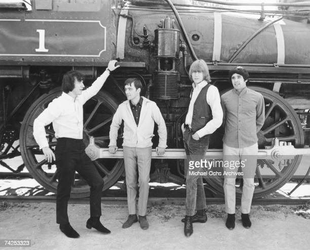 Bassist Ron Meagher guitarist Ron Elliott drummer John Petersen and singer Sal Valentino of the rock and roll band The Beau Brummels pose for a...
