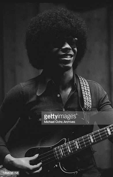 Bassist Rustee Allen of the psychedelic soul group 'Sly And The Family Stone' records in the studio on April 3 1973 in San Francisco California