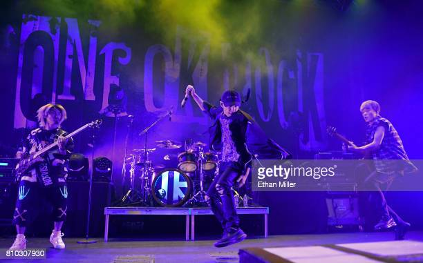 Bassist Ryota Kohama drummer Tomoya Kanki singer Takahiro Taka Moriuchi and guitarist Toru Yamashita of One OK Rock perform as the band kicks off the...