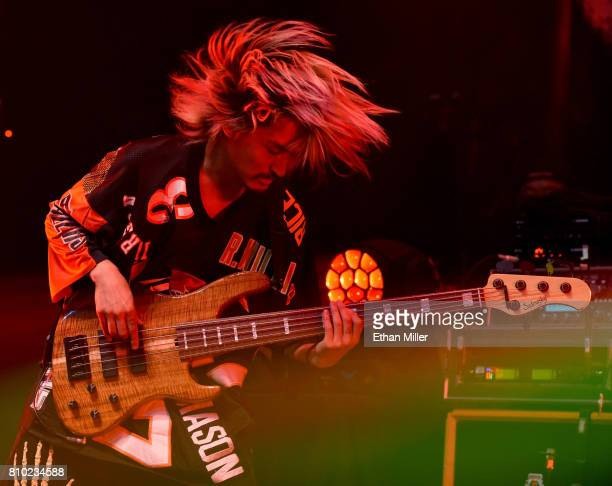 Bassist Ryota Kohama of One OK Rock performs as the band kicks off the Ambitions U.S. Tour 2017 at Brooklyn Bowl Las Vegas on July 6, 2017 in Las...