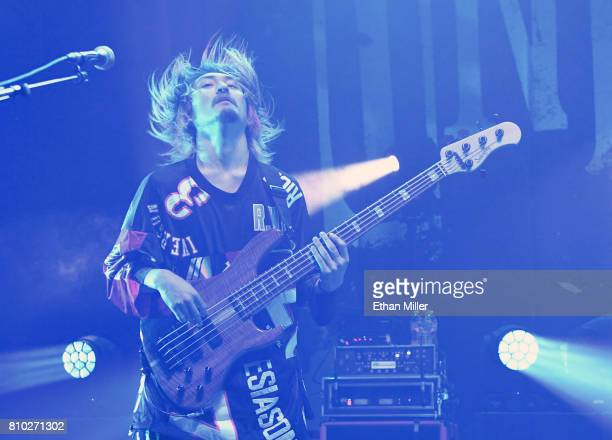 Bassist Ryota Kohama of One OK Rock performs as the band kicks off the Ambitions US Tour 2017 at Brooklyn Bowl Las Vegas on July 6 2017 in Las Vegas...