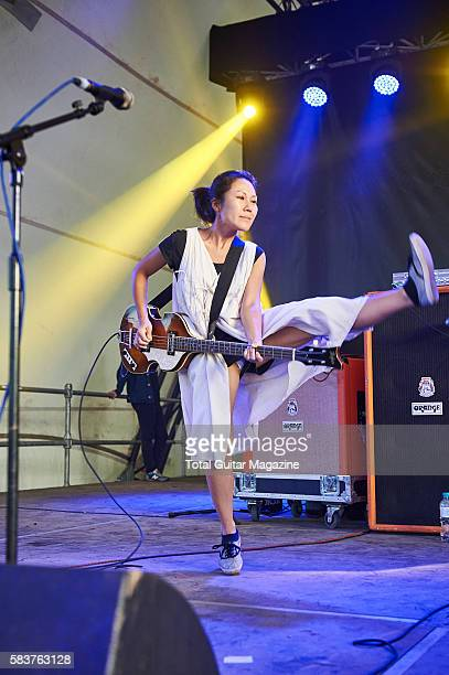 Bassist Satomi Matsuzaki of noise rock group Deerhoof performing live on stage at ArcTanGent Festival in Somerset on August 22 2015