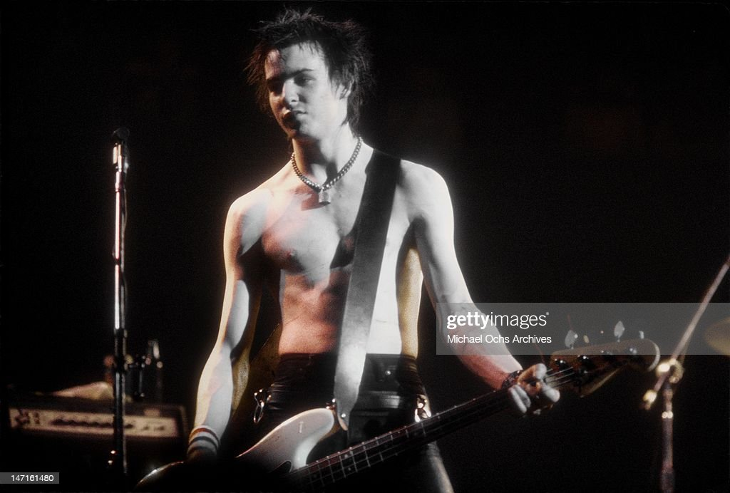 Bassist Sid Vicious of the punk band 'The Sex Pistols' perform their last concert in Winterland on January 14, 1978 in San Francisco, California.