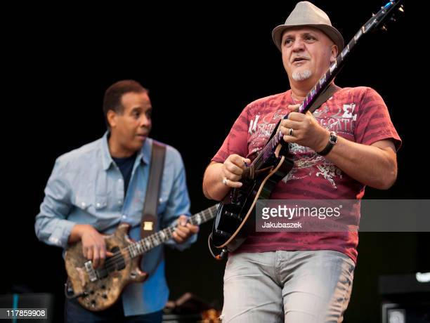 Bassist Stanley Clarke and guitarist Frank Gambale perform live during a concert at the Zitadelle with Chick Coera on July 1, 2011 in Berlin, Germany.