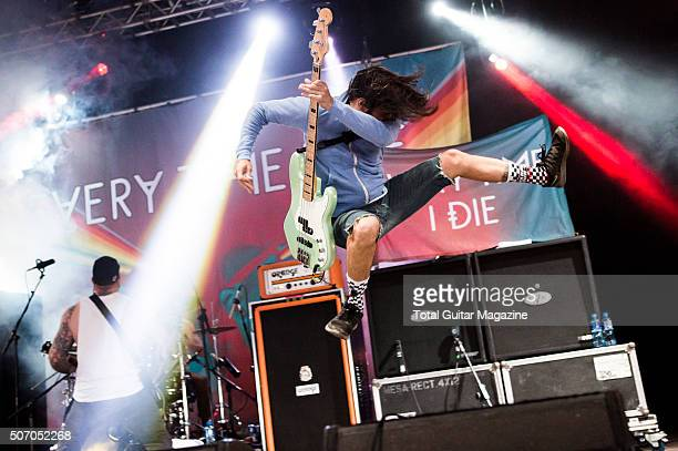 Bassist Stephen Micciche of American hard rock group Every Time I Die performing live on the Maverick Stage at Download Festival on June 13 2015