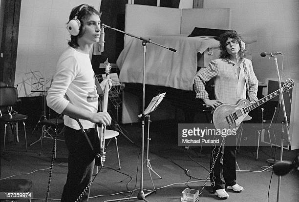 Bassist Steve Currie and Singer Marc Bolan of British glam rock group T-Rex, at the Chateau d'Herouville recording studio, France, 23rd October 1972....