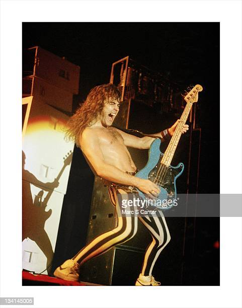 Bassist Steve Harris of the rock band 'Iron Maiden' performs onstage at the Long Beach Arena for the 'Number Of The Beast' tour on July 9 1983 in...