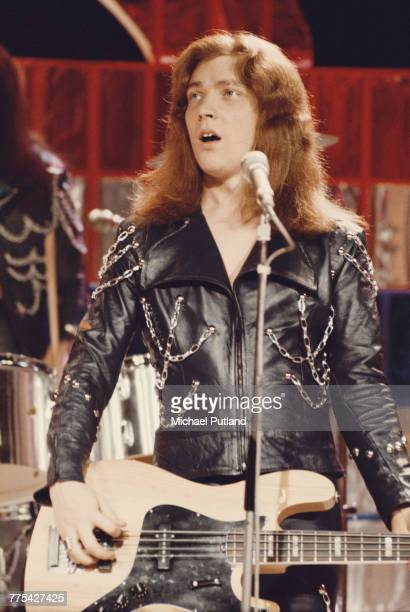 Bassist Steve Priest performing with British glam rock group Sweet on the Christmas Day edition of the BBC TV music show 'Top Of The Pops' broadcast...
