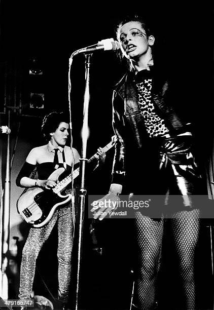 Bassist Tessa Pollitt and singer Ari Up performing with British punk group The Slits at the Coliseum Harlesden London 11th March 1977 The group are...