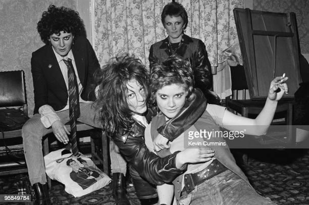 Bassist Tessa Pollitt singer Ari Up and drummer Palmolive of punk band The Slits backstage at the Oaks pub in Chorlton Manchester on April 28 1977