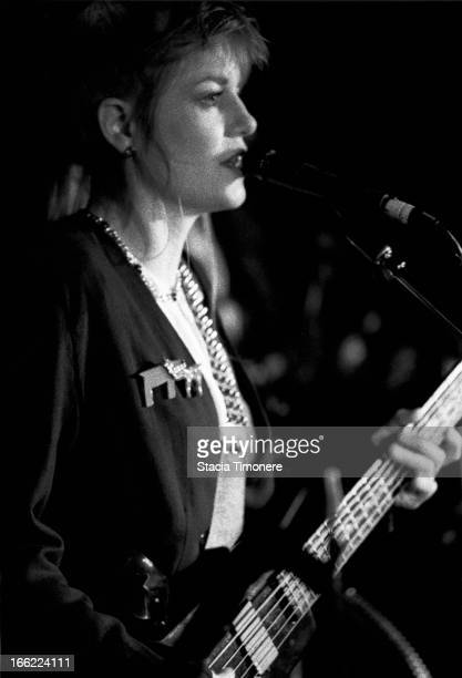 Bassist Tina Weymouth of The Tom Tom Club performs on stage at The Cubby Bear in Chicago Illinois United States on 1st June 1989 She plays a...