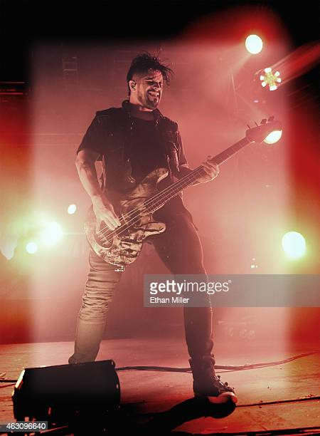 Bassist Tobin Esperance of Papa Roach performs at The Joint inside the Hard Rock Hotel Casino on February 7 2015 in Las Vegas Nevada