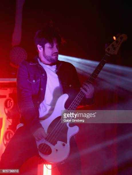 Bassist Tobin Esperance of Papa Roach performs during a stop of the 15 Years in the Making tour at The Joint inside the Hard Rock Hotel Casino on...